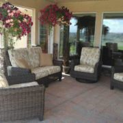 Wicker furniture and cushions